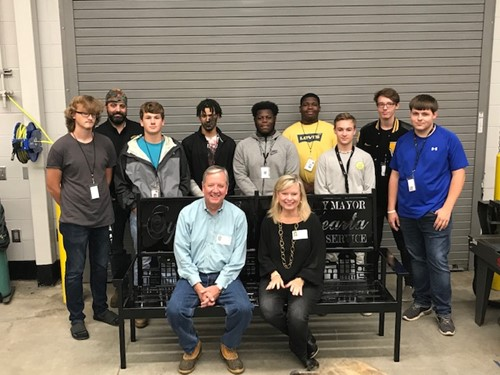 WCHS Welding Students Present Custom Made Bench to Former Mayor