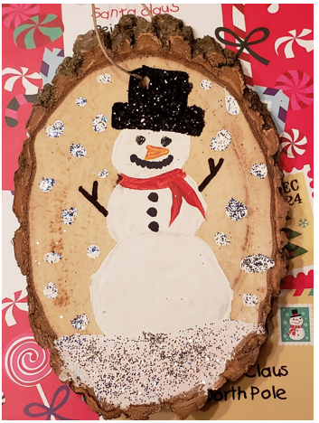 Snowman ornament painted by WCMS student
