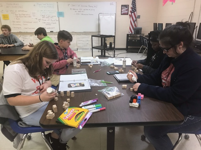 Mrs. Newell's 7th graders are constructing their puzzle cube for Project Lead The Way.