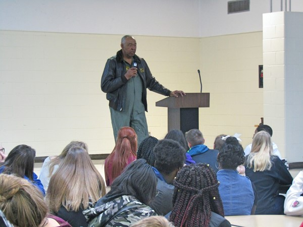 Mr. Claven Williams spoke to the 8th grade students about considering a military career.