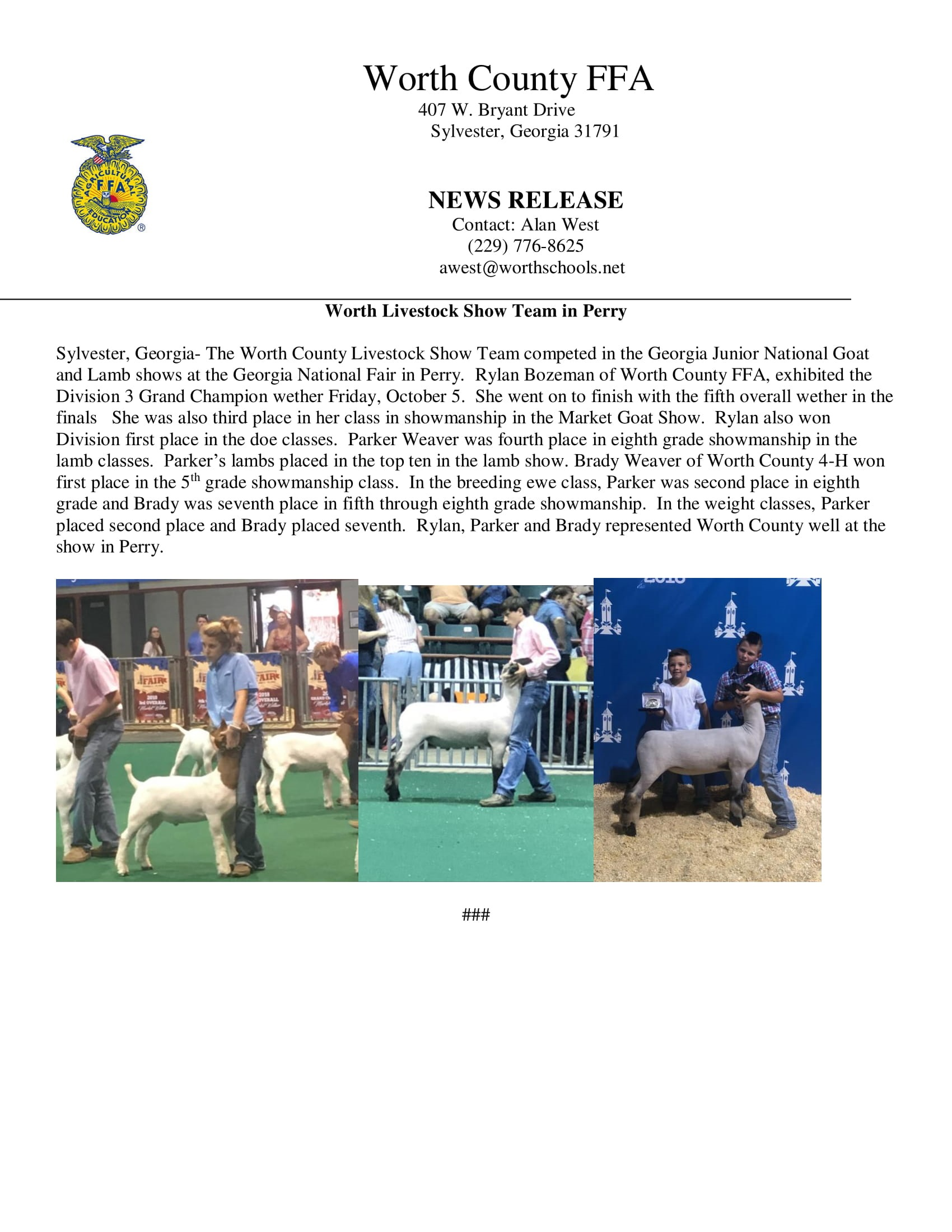 Worth County FFA Press Release