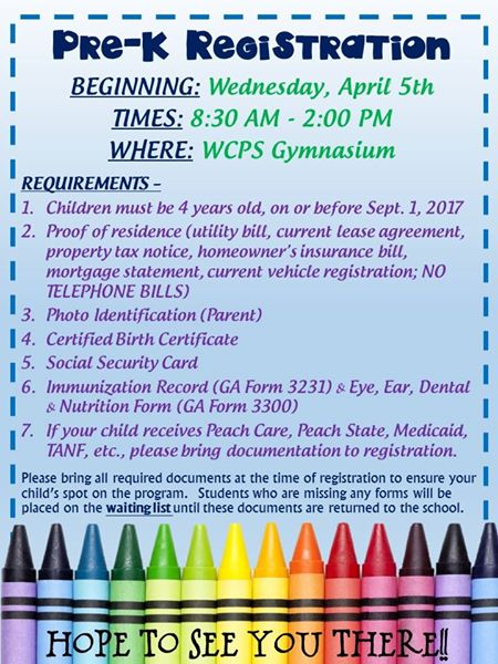Pre-K Registration Information Flyer