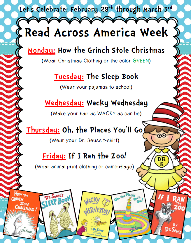 Read Across America Week at WCPS Daily events
