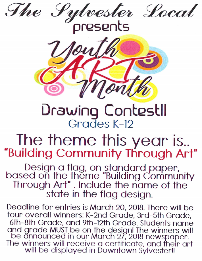 Sylvester Local Youth Art Drawing Contest Flyer